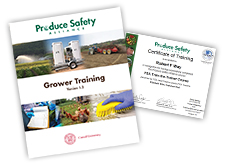Grower manual cover and certificate